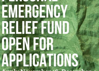 """Green tarp looking background. In white letters: """"Personal Emergency Relief Fund Open For Applications. Apply November 16-December 4. springboardforthearts.org/perf"""