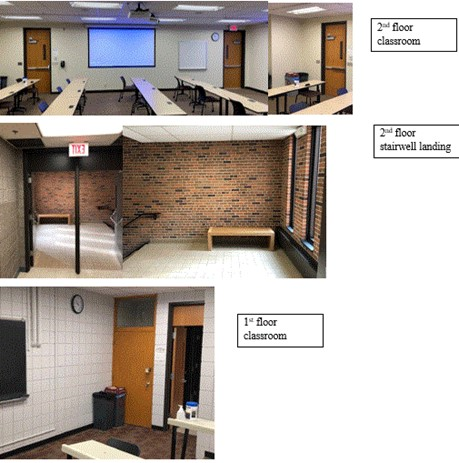 Photo of 2nd floor classroom, 2nd floor stairwell landing, 1st floor classroom.