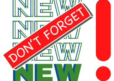 """The words """"NEW NEW NEW NEW"""" written in blue and green with a red stamp over the top that says """"Don't Forget"""" and a large red exclamation point."""