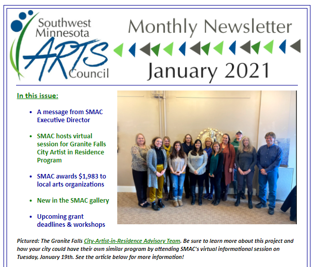Screen grab of the first page of the newsletter.