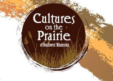 Cultures on the Prairie. Dark brown circle with gold colored wheat grass, white writing.