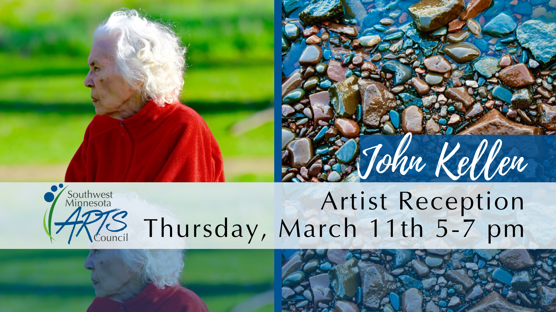 [Event Image: Background is two photographs taken by John Kellen. The one on the left side is of his mother, a profile of an elderly woman with short white hair and a red shirt, behind her is out of focus green landscape. The right picture is colorful rocks with receding blue tinged water. There is the SMAC logo in the bottom left corner. Text reads: