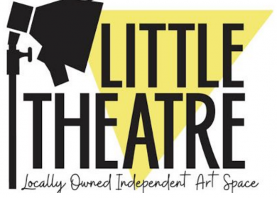Little Theatre logo. Cartoon black silhouette spotlight with yellow triangle of light coming from it, over the triangle in black is text: Little Theatre. Locally owned Independent Art Space.