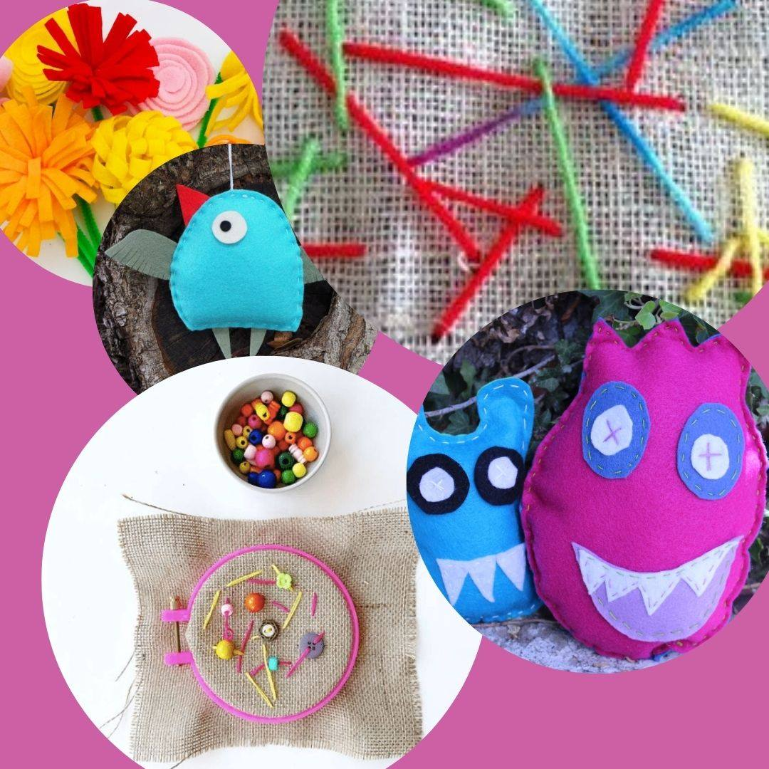 Various kids crafts made with burlap and fabric