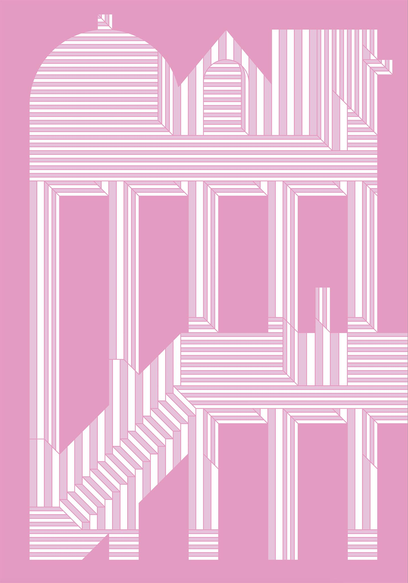 Digitized looking image, all in shades of pink, lines that resemble a two level building structure.