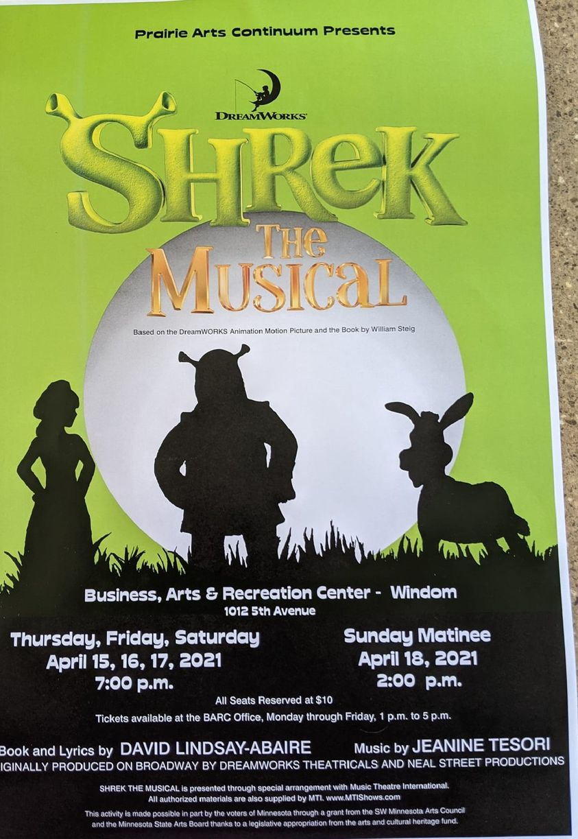 Poster for event. All text appears in body of event description. Poster is green background, large round white moon on lower horizon with black silhouettes of princess fiona, shrek and donkey.