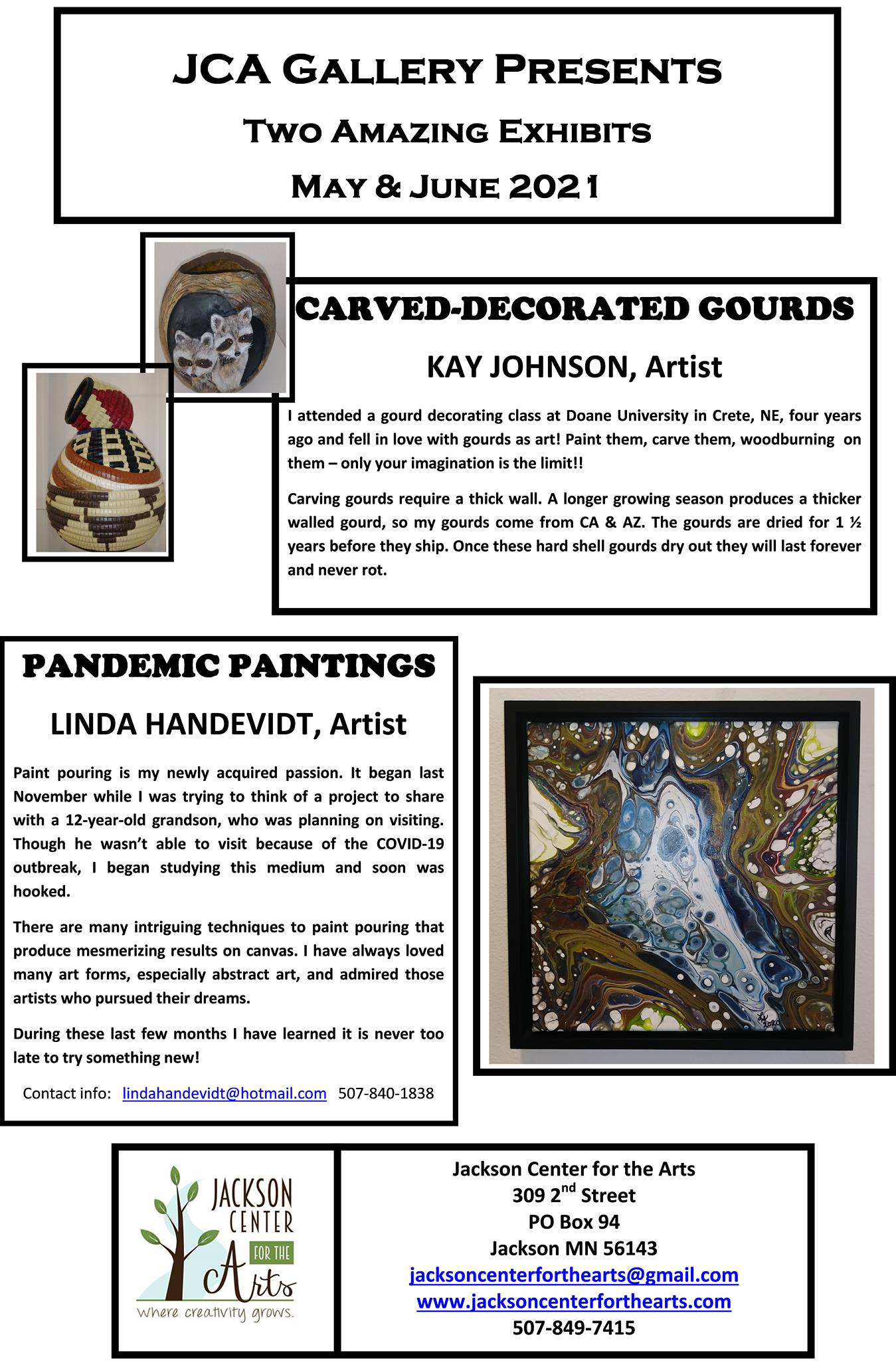 All text appears in body of event text. Also features 2 gourd pictures, one of carved and painted raccoons and one of geometric painted designs. Also a photo of a paint pour, with multiple colors.