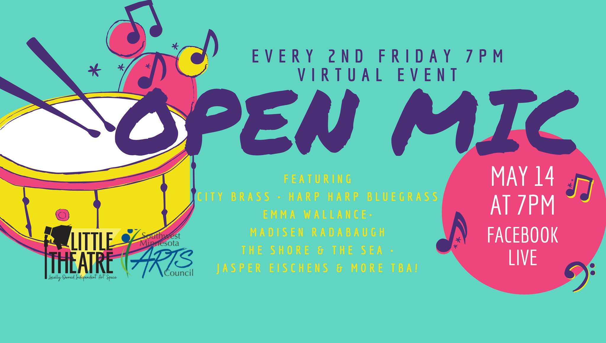 Every 2nd Friday 7 pm, Virtual Event. Open Mic. Featuring City Brass, Harp Harp Bluegrass, Emma Wallance, Madisen Radabaugh, The Shore & the Sea, Jasper Eischens & More TBA! May 14 at 7 pm, Facebook Live.
