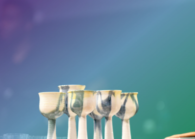 Photo of pottery made chalices.