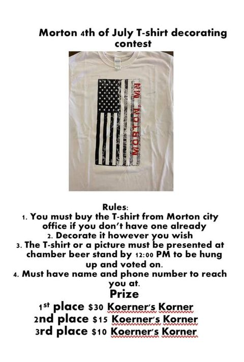 All text appears in body of post. Image of t-shirt graphic, black/white US flag (vertical) with red Morton, MN on it.