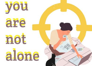 text: you are not alone. Simple illustration of a person working on a laptop.