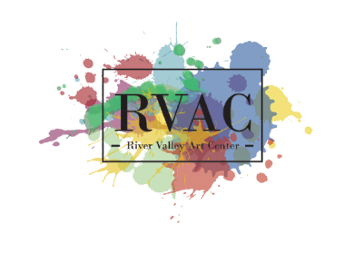 River Valley Art Center logo. Splash of bright color paints and text.
