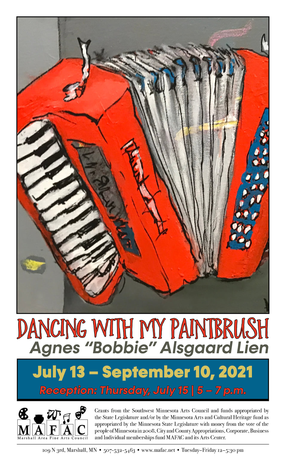 Painting of a red accordion.