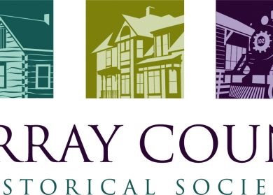 Murray County Historical Society logo. Illustrated image of a barn, a historic house, and a train.