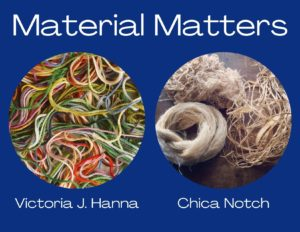 Material Matters. Victoria J. Hanna and Chica Notch. Images of colorful yarn and beige fibres.