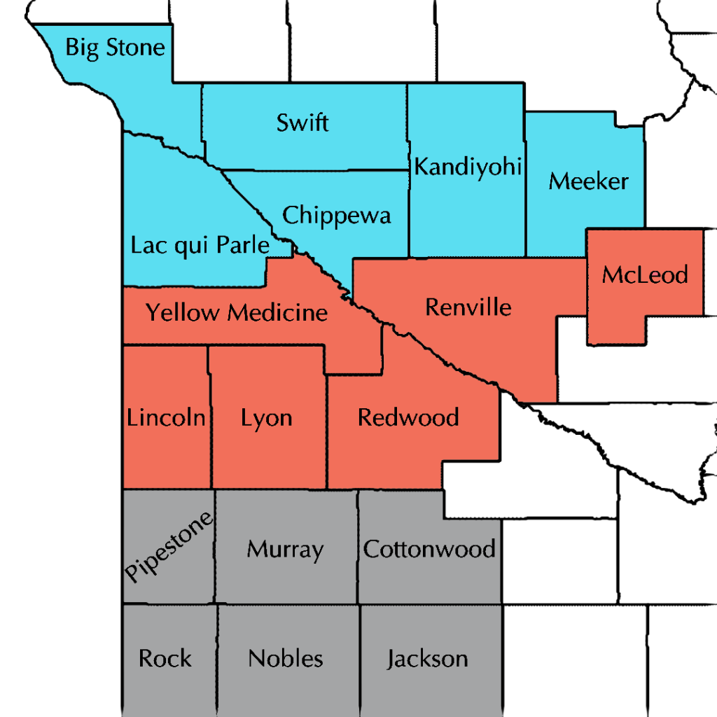 Image: Map of the 18 counties in the SMAC region divided into 6 in the North, 6 in Central, and 6 in the south by color. North: Big Stone, Swift, Kandiyohi, Meeker, Lac qui Parle, Chippewa. Central: Yellow Medicine, Renville, McLeod, Lincoln, Lyon, Redwood. South: Pipestone, Murray, Cottonwood, Rock, Nobles, Jackson.