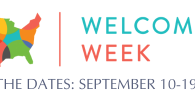 Welcoming Week, Save the dates, September 10-19, 2021. Outline of the united states in bright overlapping colors.