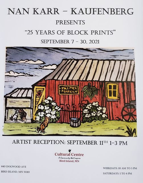 All text appears in event description. Colorful block print of a bar with blue sky and sign that reads