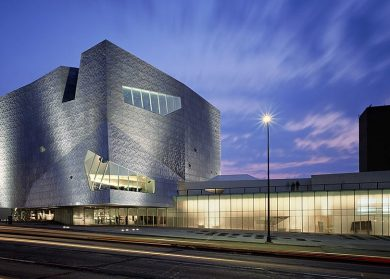 Outside view of the Walker Art Center in the evening